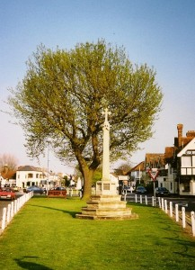 oak tree & cross in sunshine