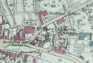 Detail from 1876 Ordnance Survey map (map given to DVS)