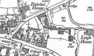 Detail from 1899 OS map (the cottages are just opposite the words 'Datchet House' & Astracot is opposite 'Village Hall')