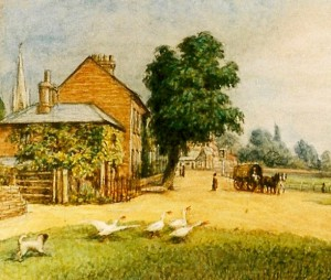 Hall Cottage, detail from painting by William Corden 1877