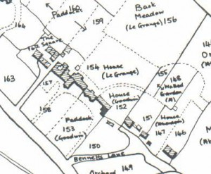 Parish rate map 1839, present house is NW wing of ' le Grange' house plot 154; plot 152 is now Orchard Court