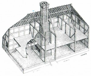 Chimney inserted into timber framed building, typical house compared with Church Cottage. (Drawing copyright Jo Cormier, Queenpost Building Histories)