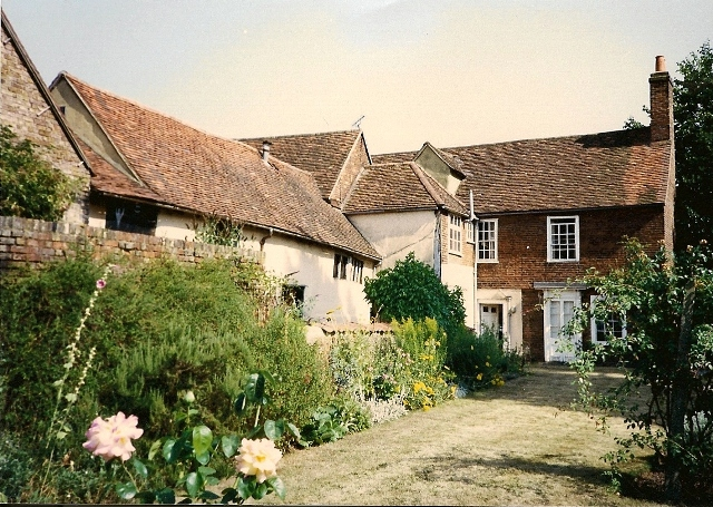 Garden side, L - R: Late 19thC barn, 17thC barn + early house, 18thC front wing